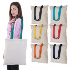 Borsa shoppers in cotone 130gr manici colorati